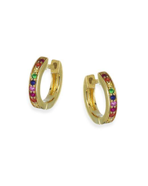 Sydney Evan | Metallic Rainbow Sapphire Huggie Hoop Earrings | Lyst