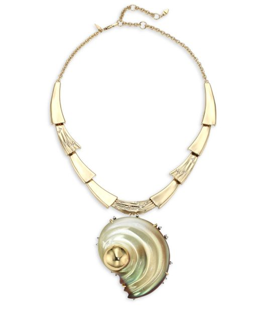 Alexis Bittar | Metallic Lucite Crystal-studded Sculptural Shell Pendant Necklace/convertible Pin | Lyst