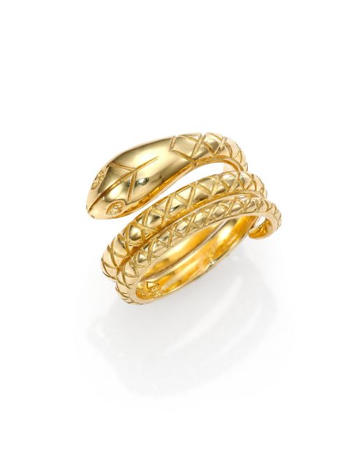 Temple St. Clair - Metallic Tree Of Life 18k Yellow Gold Double Serpent Ring - Lyst