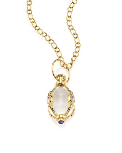 Temple St. Clair - Metallic Classic Rock Crystal, Royal Blue Moonstone & 18k Yellow Gold Charm - Lyst