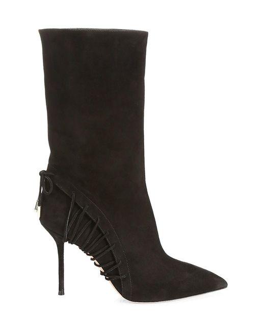 Aquazzura Black All Mine Lace-up Suede Boots