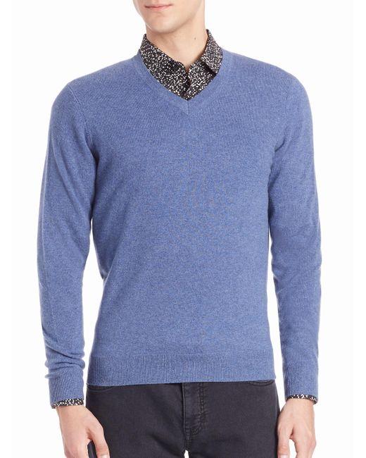 Saks Fifth Avenue - Blue Cashmere V-neck Sweater for Men - Lyst