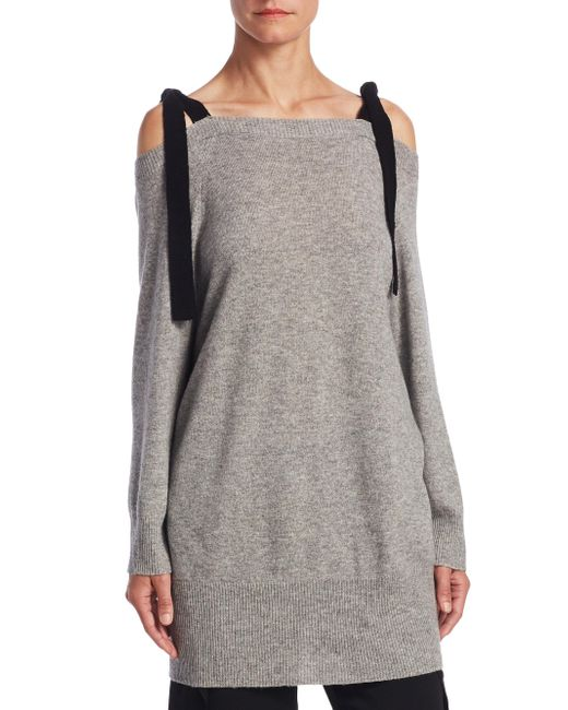 Halston Heritage - Gray Cold Shoulder Sweater - Lyst