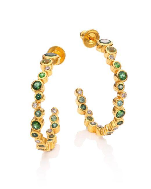 Gurhan - Metallic Pointelle Diamond, Multi-stone & 24k Yellow Gold Hoop Earrings/1 - Lyst