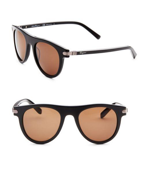 Ferragamo - Black 51mm Round Sunglasses for Men - Lyst