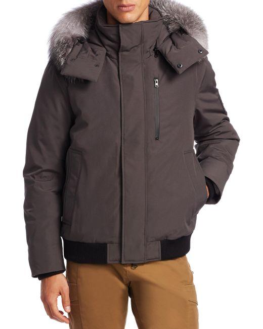 Madison Supply - Gray Bomber Fox Fur-trim & Rabbit Fur-lined Steel Coat for Men - Lyst