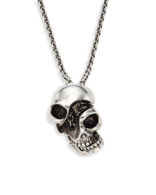 Alexander McQueen Metallic Silvertone Brass Skull Pendant Necklace for men