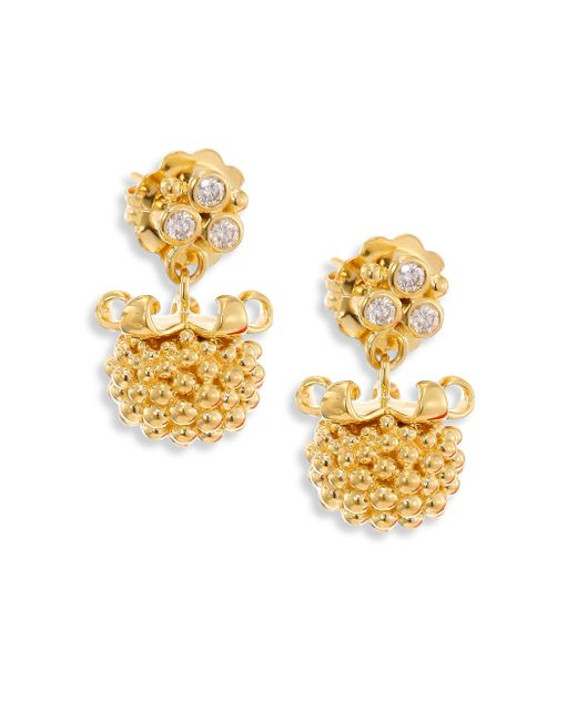 Temple St. Clair - Metallic Large Pod Diamond & 18k Yellow Gold Earrings - Lyst