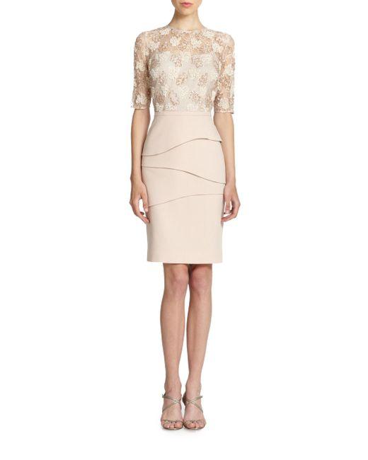 Teri Jon   Metallic Lace Bodicethree Quarter Sleeve Sheath Dress   Lyst