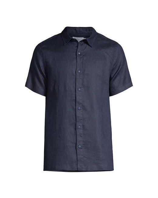 Onia Blue Samuel Linen Shirt for men