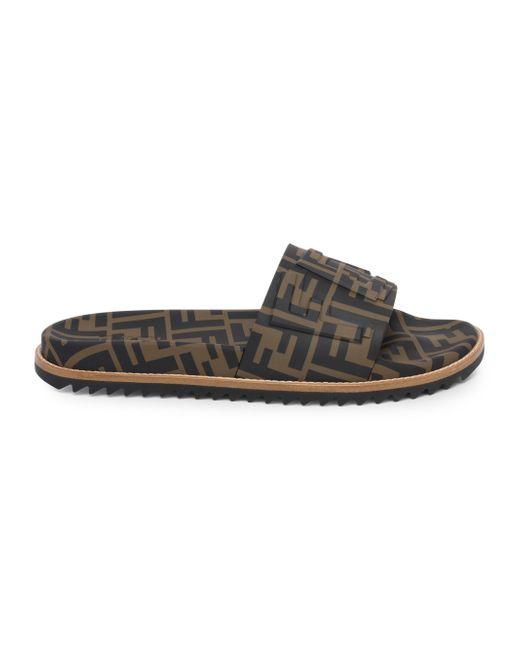 76b234d02 Fendi - Black Ff Slide Sandals for Men - Lyst ...