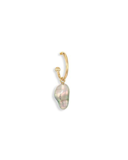 Mizuki | Metallic 7mm Grey Baroque Tahitian Pearl & 14k Yellow Gold Single Small Open Hoop Earring | Lyst