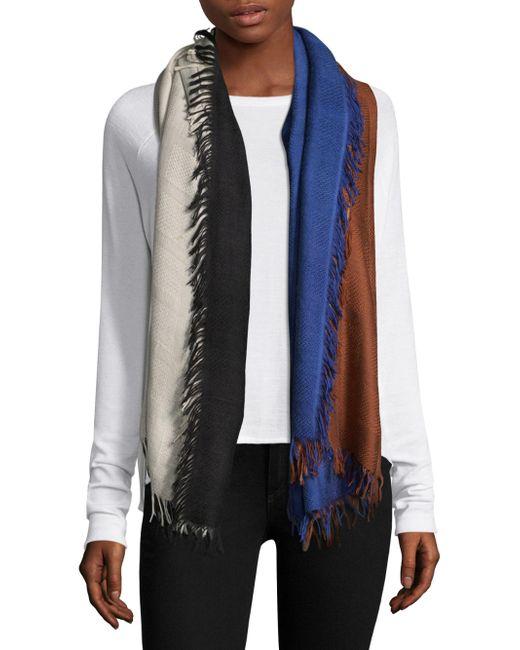 Bajra - Blue Checkerboard Wool & Silk Scarf - Lyst