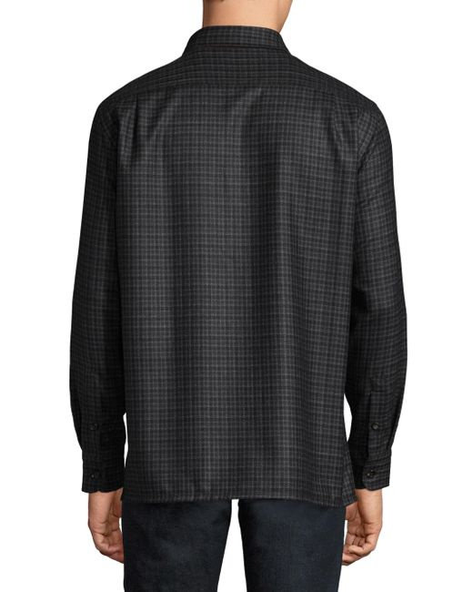 Lyst luciano barbera stitch silk wool button down for Wool button down shirt