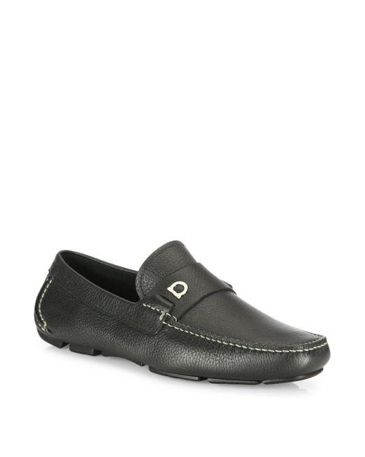 Ferragamo - Black Gancini Pebbled Leather Drivers for Men - Lyst