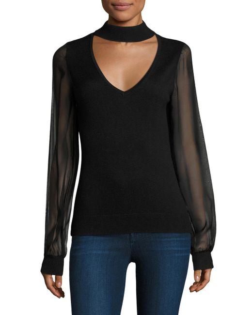 Ramy Brook | Black Ashley Chiffon Sleeves Choker Sweater | Lyst
