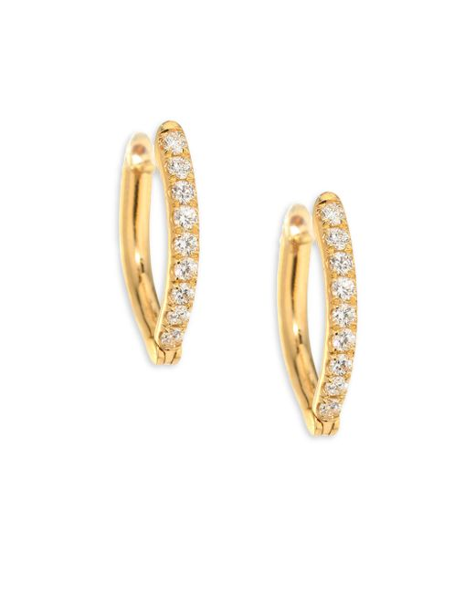 Melissa Kaye | Metallic Christina Small Diamond & 18k Yellow Gold Hoop Earrings | Lyst
