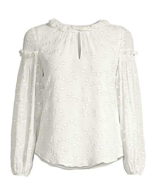 Rebecca Taylor White Metallic-trim Polka Dot Silk-crepe Ruffle Puff-sleeve Blouse