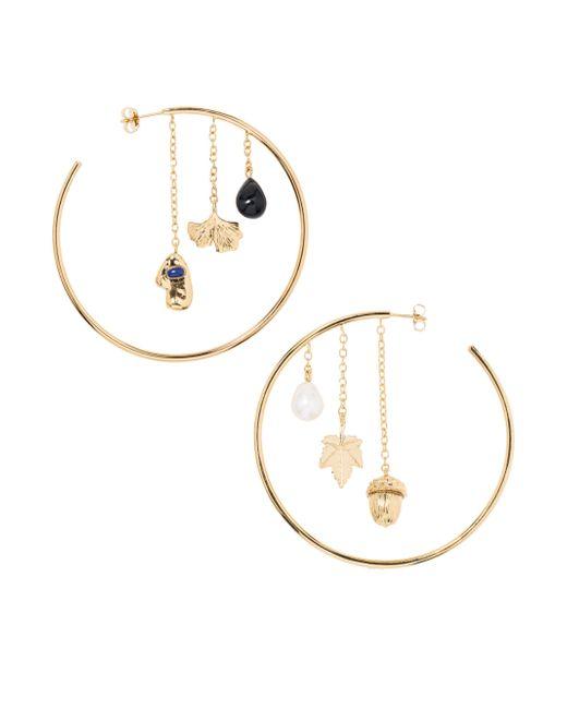 Aurelie Bidermann   Metallic Barbizon Baroque Pearl, Lapis Lazulli & Black Agate Hoop Earrings   Lyst