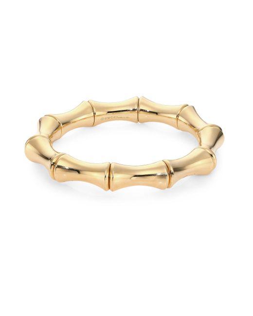 Gucci - Metallic Bamboo 18k Yellow Gold Bangle Bracelet - Lyst