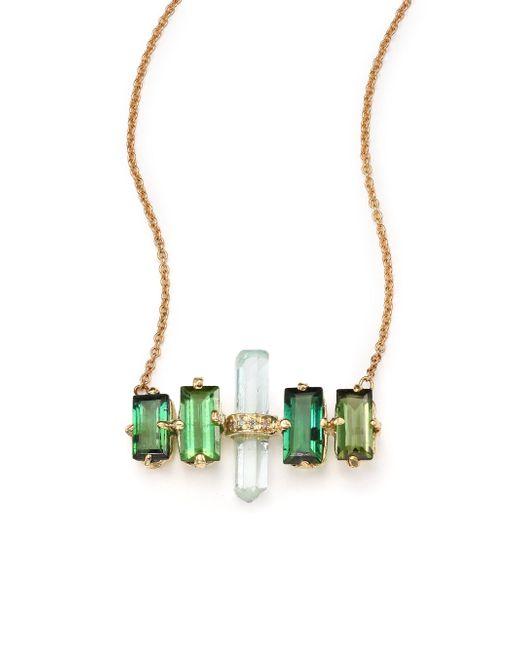 Jacquie Aiche - Metallic Green Tourmaline, Aquamarine 14k Yellow Gold Aura Bar Pendant Necklace - Lyst