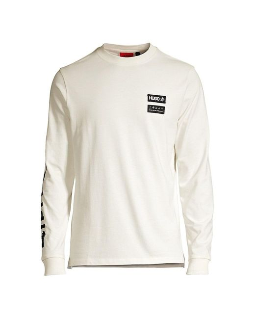 HUGO Natural Dochi Long-sleeve Logo T-shirt for men