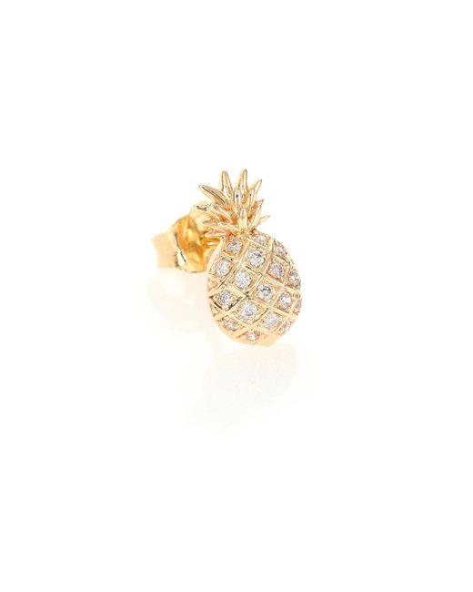 Sydney Evan - Metallic Diamond & 14k Yellow Gold Pineapple Single Stud Earring - Lyst