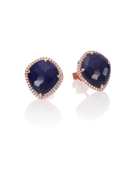 Meira T - Blue Sodalite, Diamond & 14k Rose Gold Stud Earrings - Lyst