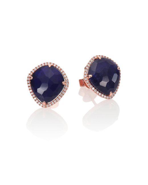 Meira T - Pink Sodalite, Diamond & 14k Rose Gold Stud Earrings - Lyst