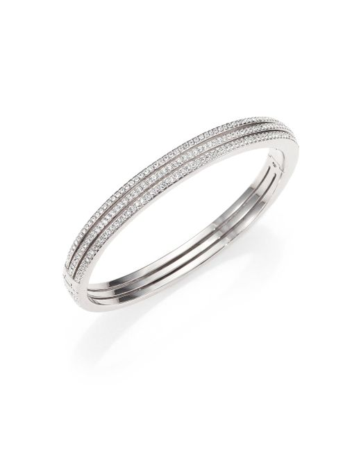Adriana Orsini - Metallic Pavé Crystal Three-row Bangle Bracelet/silvertone - Lyst