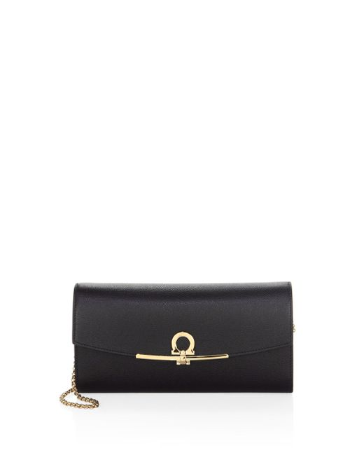Ferragamo - Black Fold-over Leather French Wallet - Lyst