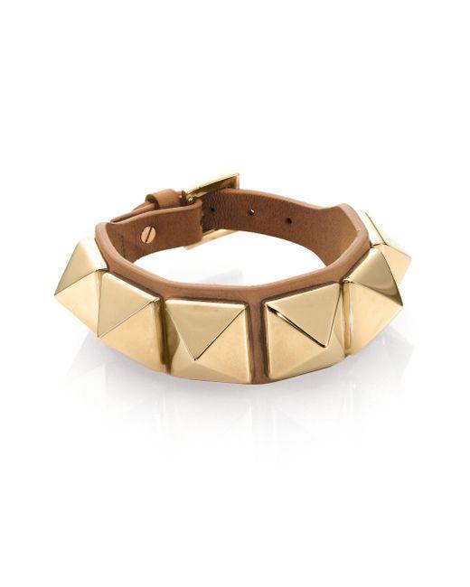 Valentino | Green Rockstud Large Leather Bracelet | Lyst