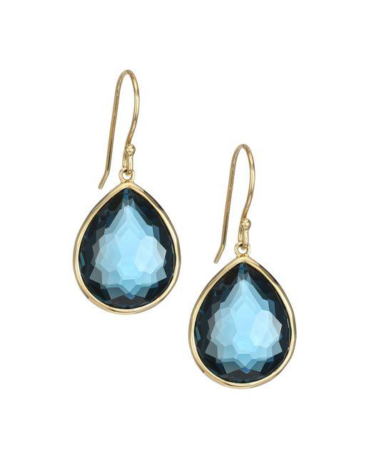 Ippolita Rock Candy Small 18k Yellow Gold & London Blue Topaz Teardrop Earrings