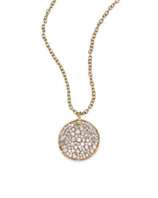 Ippolita | Metallic Stardust Diamond & 18k Yellow Gold Disc Pendant Necklace | Lyst