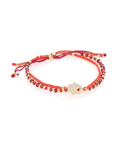 Astley Clarke - Red Biography Seize The Moment White Sapphire & Garnet Silken Beaded Bracelet - Lyst