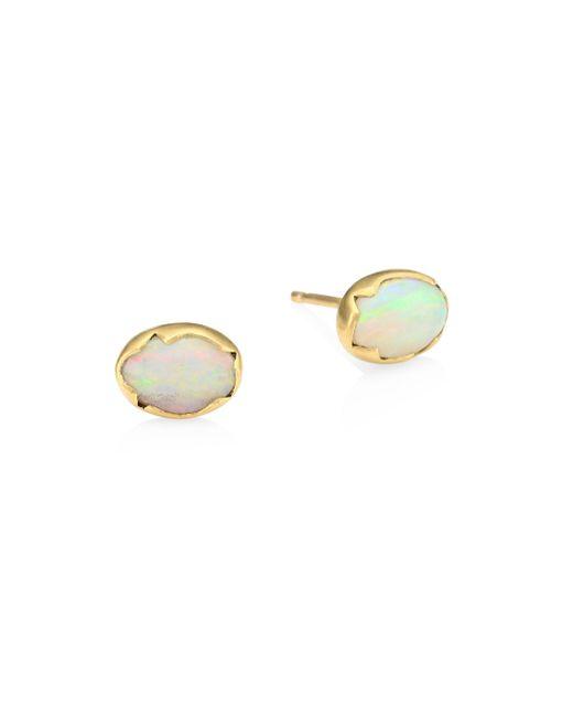 Annette Ferdinandsen - Metallic Fauna Opal & 18k Yellow Gold Stud Earrings - Lyst