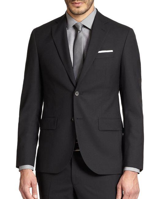 Saks Fifth Avenue   Black Modern-fit Wool Sportcoat for Men   Lyst