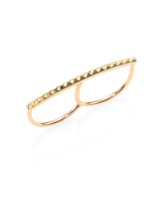 Zoe Chicco | Metallic 14k Yellow Gold Pyramid Bar Two-finger Ring | Lyst