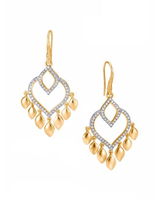 John Hardy - Metallic Legends Naga Diamond Pave, 18k Gold Chandelier Earrings - Lyst