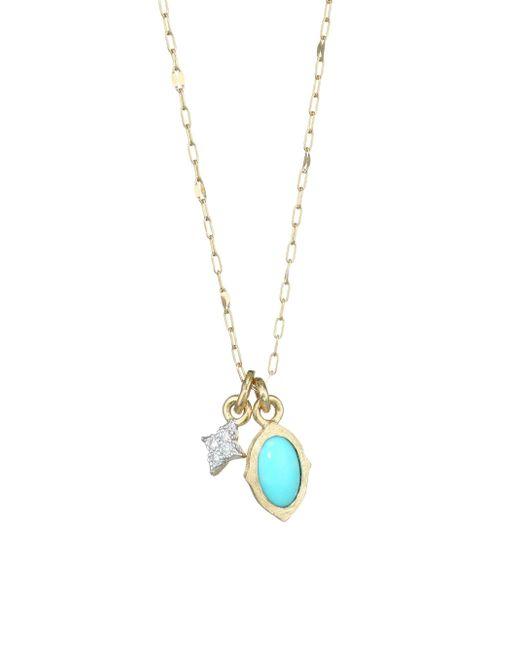 Jude Frances - Metallic Diamond, Turquoise & 18k Yellow Gold Pendant Necklace - Lyst