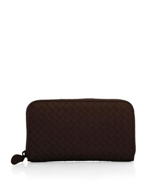 Bottega Veneta - Brown Intrecciato Zip Continental Wallet - Lyst