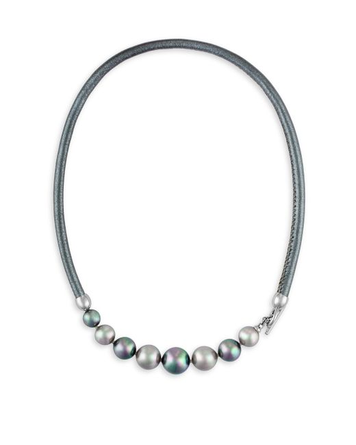 Majorica - Gray 9-12mm Nuage And Grey Pearl And Leather Graduated Necklace - Lyst