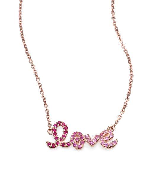Sydney Evan Pink Love Ombré Ruby, Multicolor Sapphire & 14k Rose Gold Pendant Necklace