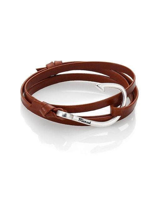 Miansai Brown Silver Tone Hook Leather Bracelet for men