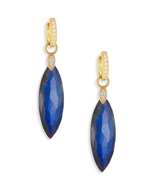 Jude Frances | Blue Lisse Diamond, Labradorite & Black Onyx Doublet Elongated Earring Charms | Lyst