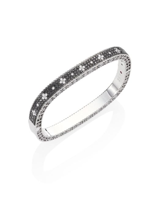 Roberto Coin | Metallic Rock And Diamond 18k White Gold Bangle Bracelet | Lyst
