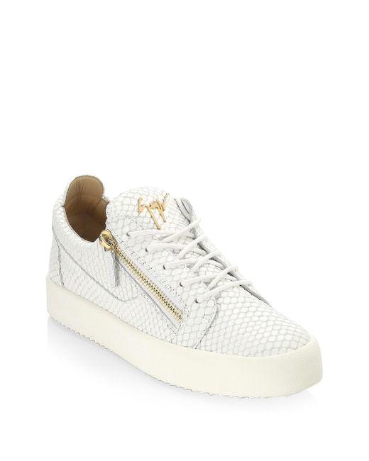 Giuseppe Zanotti - White Snake-print Leather Low-top Sneakers for Men - Lyst