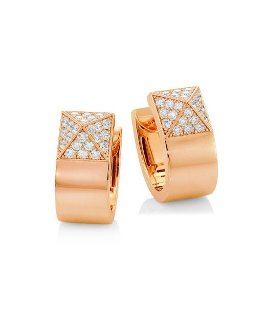 Roberto Coin - Metallic Sauvage Pave Diamond & 18k Rose Gold Earrings - Lyst