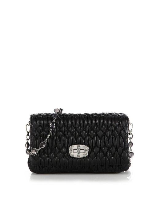 Miu Miu - Black Nappa Crystal Embellished Leather Shoulder Bag - Lyst