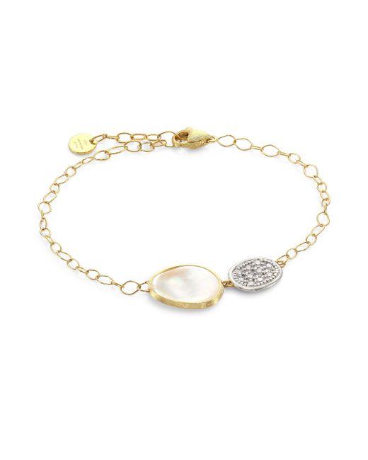 Marco Bicego   Metallic Lunaria 18k Yellow Gold & Diamond Chain Bracelet   Lyst